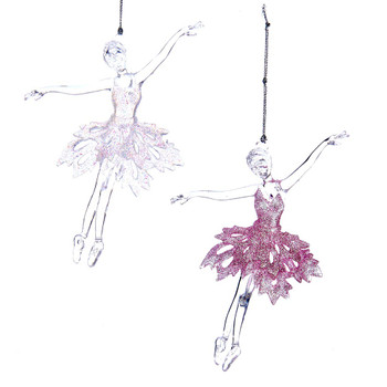 2 pc On Ballet Girl on Toes Clear Acrylic Ornaments SET