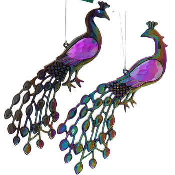 2 pc Fancy Purple and Green Acrylic Peacock Ornament Set