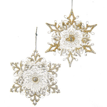 4 pc Silver and Gold on Clear Snowflake Plastic Ornament SET