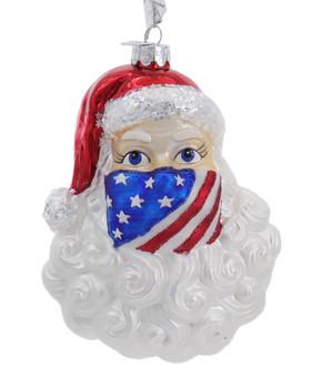 Santa Wearing Patriotic Mask Glass Ornament
