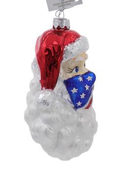 Santa Wearing Patriotic Mask Glass Ornament Right Side