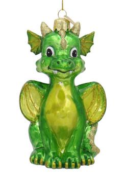 Baby Green Dragon Glass Ornament