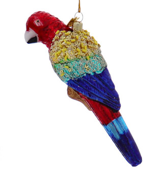Scarlet Macaw Parrot Glass Ornament
