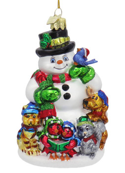Snowman with Winter Animals Glass Ornament