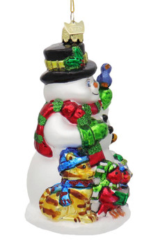 Snowman with Winter Animals Glass Ornament Right Side