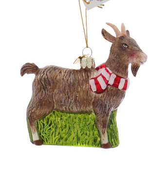 Holiday Brown Goat Glass Ornament