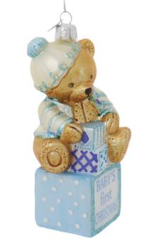 Baby Boy Teddy Bear First Christmas Glass Ornament Side