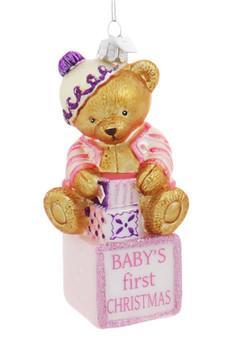 Baby Girl Teddy Bear First Christmas Glass Ornament