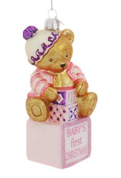Baby Girl Teddy Bear First Christmas Glass Ornament Side