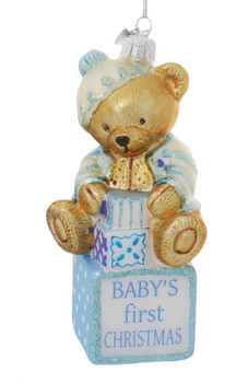 2 pc Baby's First Christmas Glass Ornament SET Boy Front