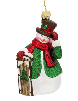 Noble Snowman with Sled Glass Ornament Sled Front
