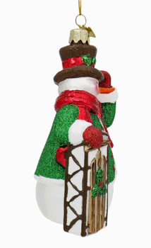 Noble Snowman with Sled Glass Ornament Sled Side