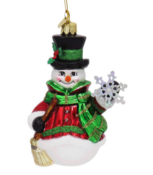 Noble Snowman with Snowflake Glass Ornament