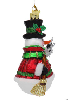 Noble Snowman with Snowflake Glass Ornament Side