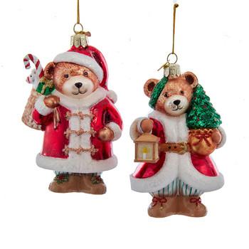Mr. or Mrs. Claus Teddy Bear Glass Ornament