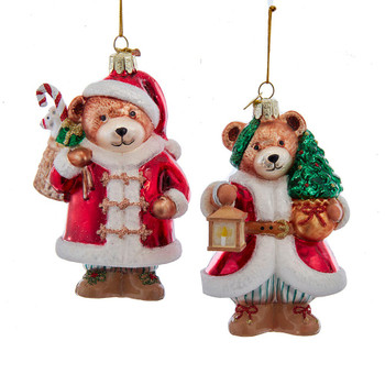 2 pc Mr. and Mrs. Claus Teddy Bear Glass Ornaments SET