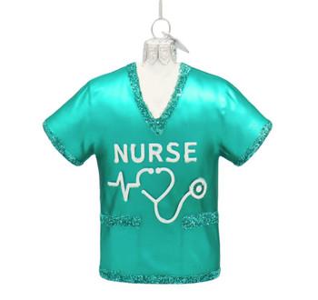 Green Nurse Scrubs Top Glass Ornament
