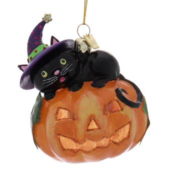Black Cat on Pumpkin Glass Halloween Ornament Fornt