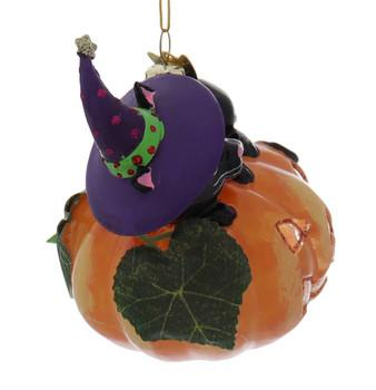 Black Cat on Pumpkin Glass Halloween Ornament Right Side
