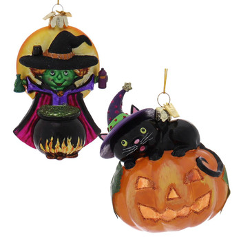 2 pc Green Witch and Black Cat Halloween Ornaments