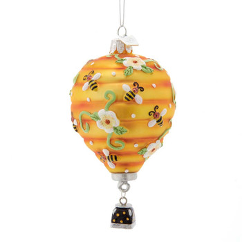 Garden Flowers and Bees Hot Air Balloon Glass Ornament