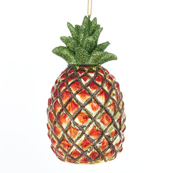 Sparkle Leaves Pineapple Glass Ornament