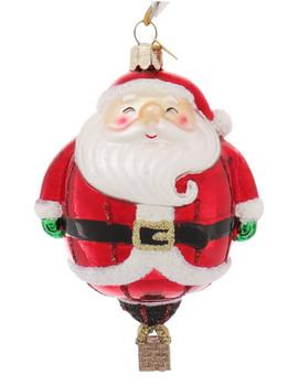 Holiday Santa Hot Air Balloon Character Glass Ornament