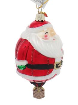Holiday Santa Hot Air Balloon Character Glass Ornament Side