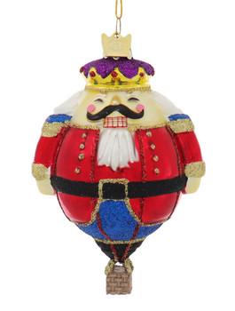 Holiday Nutcracker Hot Air Balloon Character Glass Ornament