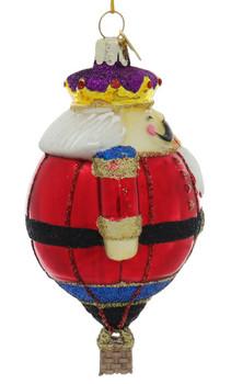 Holiday Nutcracker Hot Air Balloon Character Glass Ornament Side