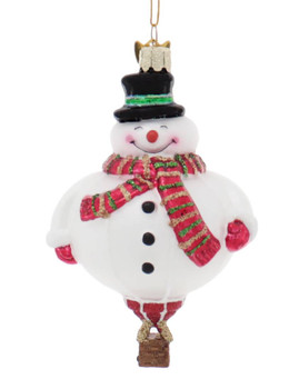 Holiday Snowman Hot Air Balloon Character Glass Ornament Front