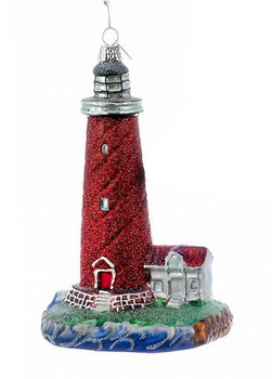 Sparkly Red Glitter Lighthouse Glass Ornament