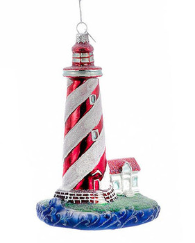 Red Swirl Lines Sparkly Lighthouse Glass Ornament