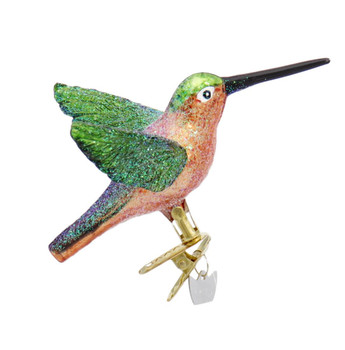 Sparkly Clip On Hummingbird Glass Ornament Orange Belly Right Side