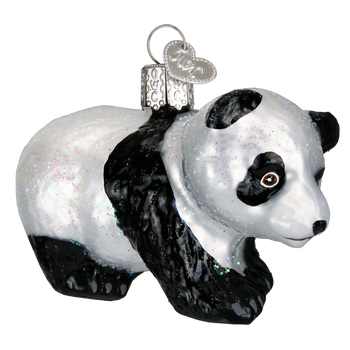 Panda Cub Glass Ornament