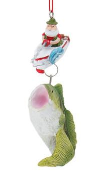 Santa Fishing for Big Fish Ornament Front