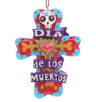 2 pc Dia de los Muertos Ornaments SET Cross Front