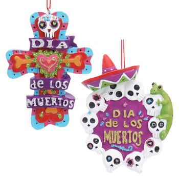 2 pc Dia de los Muertos Ornaments SET