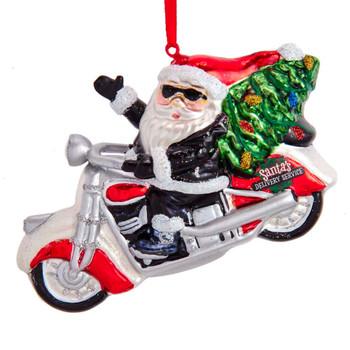 Motorcycle Santa Glass Ornament