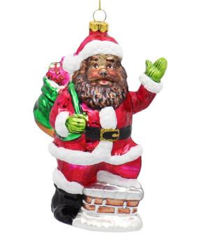 Black Santa on Chimney Glass Ornament