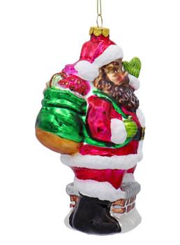 Black Santa on Chimney Glass Ornament Right Side