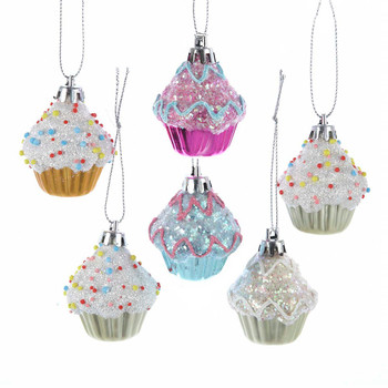 6 pc Mini Plastic Cupcake Ornaments SET