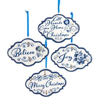 4 pc Indigo Blue and White Word Sign Porcelain Ornaments SET