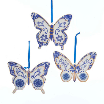 3 pc Indigo Blue and White Butterfly Porcelain Ornaments SET