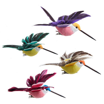 4 pc Feather Wings Hummingbird Clip Ornaments SET