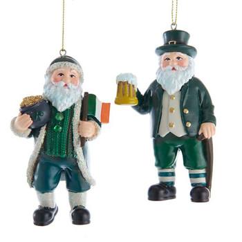 2 pc Santa of Ireland Ornaments Set