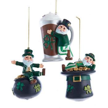 3 pc Fun Irish Theme Santa Ornaments SET