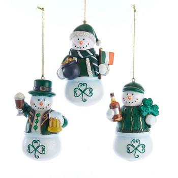 3 pc Irish Snowman Ornaments SET