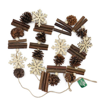 Pinecones and Snowflakes Lodge Garland Full Image