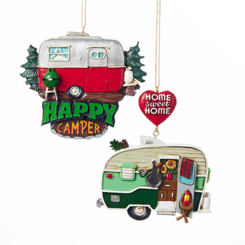 2 pc Painted Camper Trailer Sign Ornaments Set